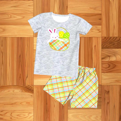 Boy's Bunny in a Basket Shorts Set