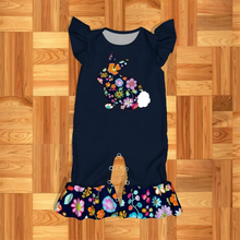 Infant Girl's Navy & Floral Bunny Romper