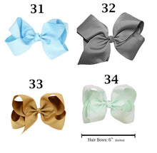 Girl's Fashion  6 inch  Solid Bow w/Alligator Clip