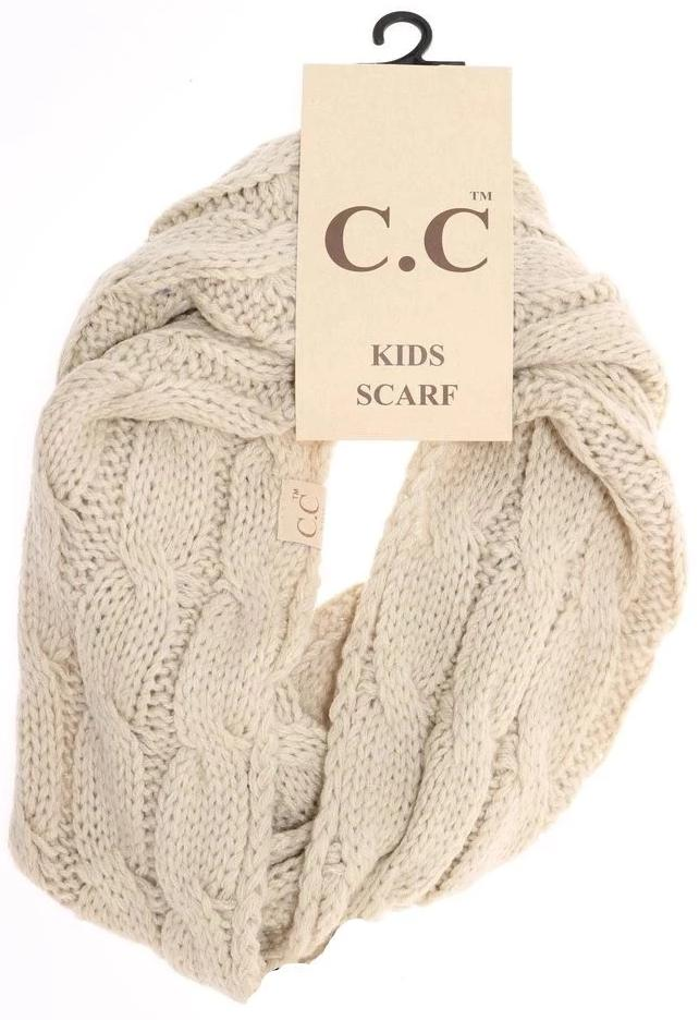 KIDS Solid Cable Knit CC Gloves (Beige)