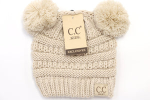 BABY Solid Double Pom CC Beanie (Infant)