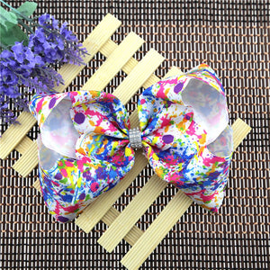 "Girl's Multi-Color ""Paint Splash"" Jumbo Beautiful Hair Bow"