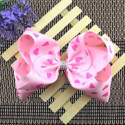 Girl's Pretty in Pink Hearts Jumbo Bow