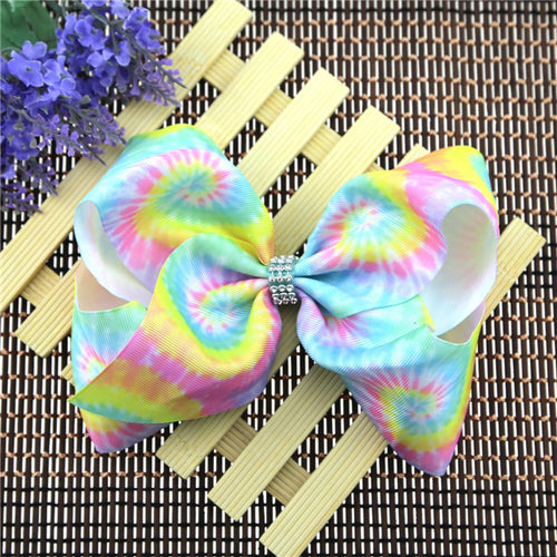 Girl's Colorful Tie-Dyed Jumbo Bow