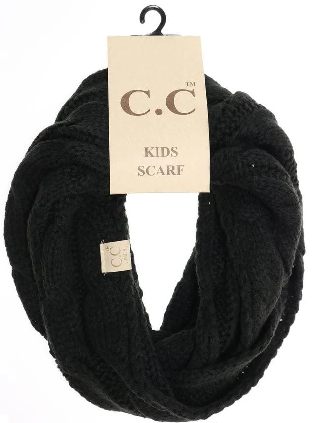 KIDS Solid Cable Knit CC Gloves (Black)