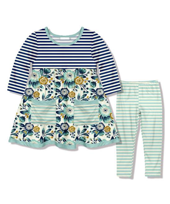 Girl's Blue Stripes & Floral 2PC Pocket Tunic Set