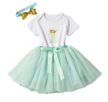 Girl's 3PC 1st Birthday Crown Set - Seafoam