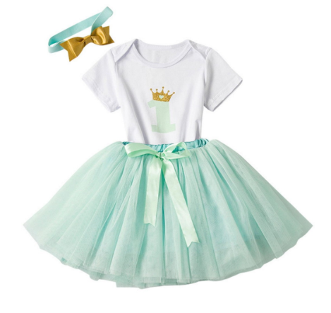 Girl's 3PC 1st Birthday Tutu Set (Seafoam Green)