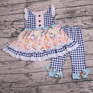 Girl's Floral & Navy Checkered 2PC Capri Set