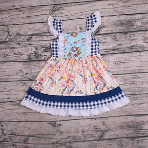Girl's Floral & Navy Checkered Dress