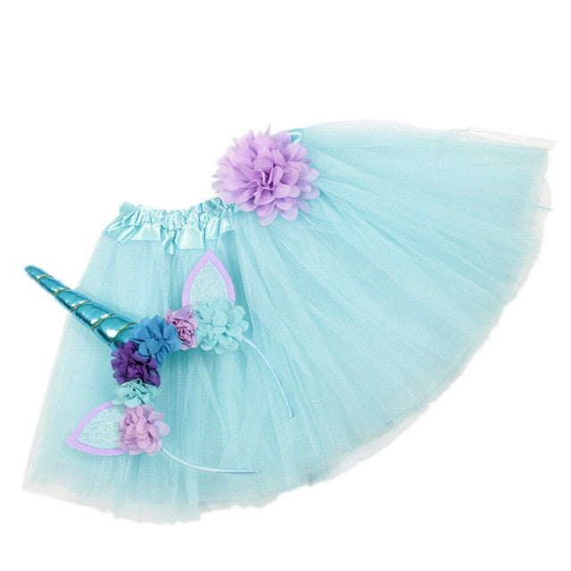Girls Unicorn Headband/Tutu set Blue