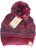 Kids Multi Color Cable Knit Pom CC Beanie