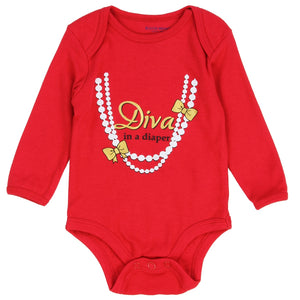 "Infant Girl's Christmas ""Diva in a Diaper"" Romper"