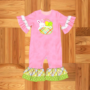 Girl's Bunny in A Basket Romper