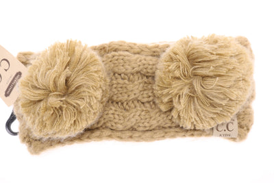 Kids Solid Double Pom CC Beanies (Camel)