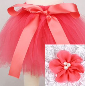 Girl's Infant/Toddler Headband Tutu Set- Coral