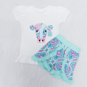 Girl's Paisley Cow 2PC Short Set