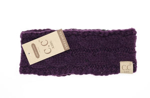 KIDS Solid Cable Knit CC Head Wrap (Dark Purple)