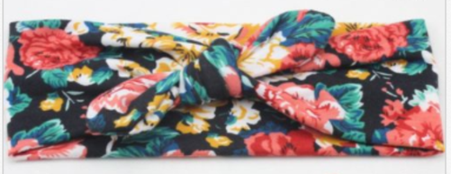Girl's Knotted Headband- Red Floral