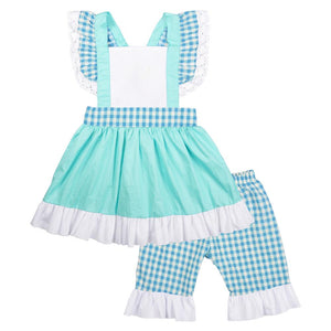 Girl's Baby Blue & Ruffles 3PC Short Set