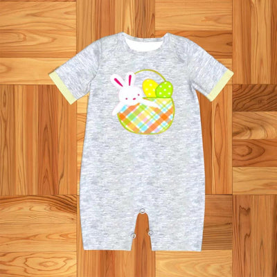 Infant Boy's Bunny in a Basket Romper