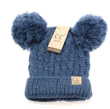Kids Solid Double Pom CC Beanies (Dark Denim)