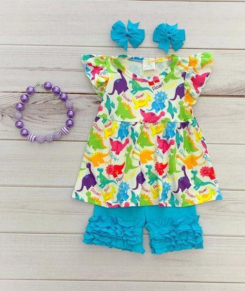Girl's Dinosaur 2PC Ruffled Short Set
