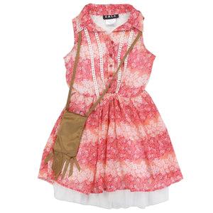 "Girls ""Kaia"" Chiffon Dress w/ Purse (Coral)"