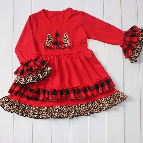 Girl's Merry Christmas Ruffle Dress