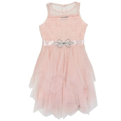 Little Girls Blush Lace Brooch Cascade Ruffle Tea-Length Dress
