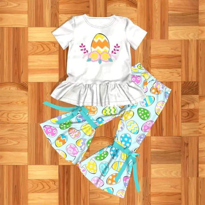 Girl's Easter Egg 2PC Flared Pants Set