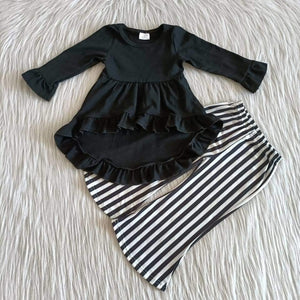 Girl's Fashion Black & White Striped Hi-Low Set