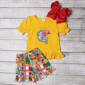 "Girl's ""Going Fishing"" 2PC Short Set"