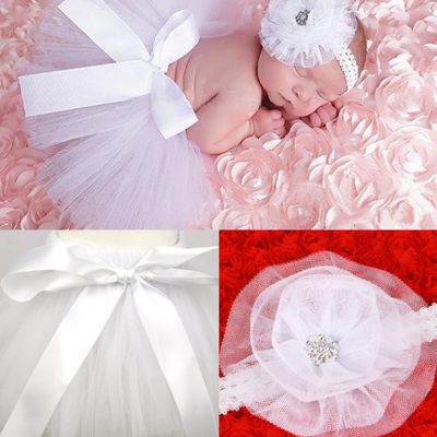 Girl's Infant/Toddler Headband Tutu Set- White