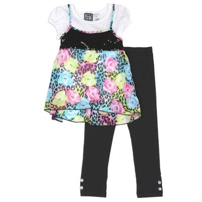 Girl's Pastel Floral 3PC Legging Set