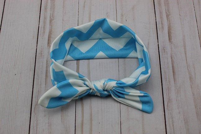 Blue Chevron Fabric Knot Headband
