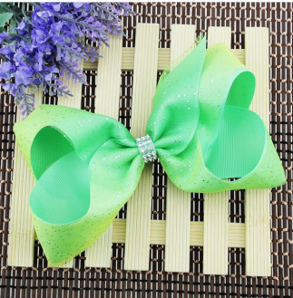 Girl's Fashion Bow Green/Yellow with Glitter