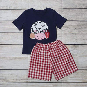 "Boy's ""Moo Cow""  2PC Short Set"