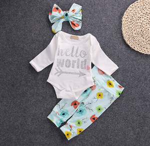 Girl's Blue Hello World 3PC Pants Set