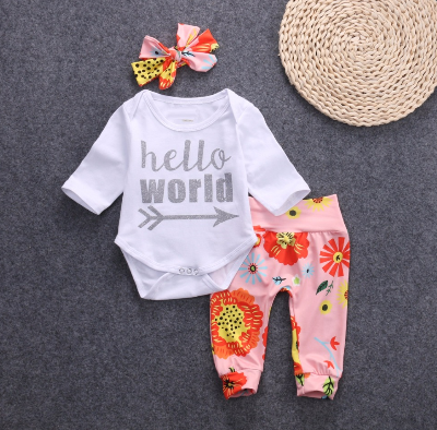 Girl's Pink Hello World 3PC Pants Set