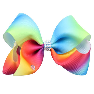 Girl's Trendy Pastel Rainbow Colored Bow