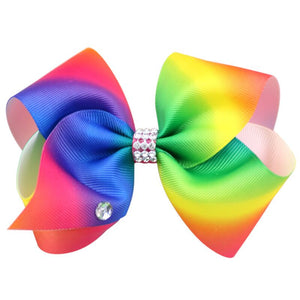 Girl's Trendy Rainbow Colored Bow