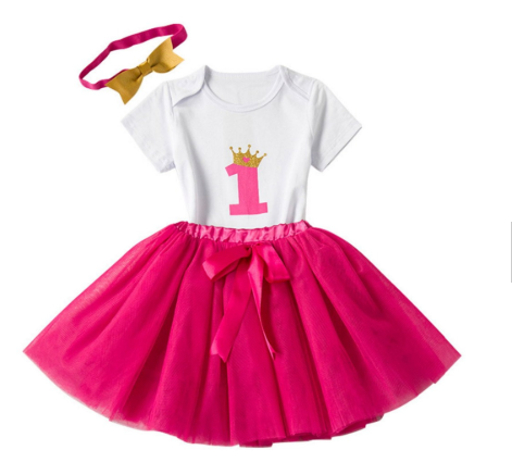 Girl's 3PC 1st Birthday Tutu Set (Hot Pink)
