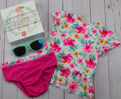 Girl's 2PC  Hot Pink Floral Bathing Suit