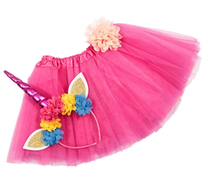 Girls Unicorn Headband/Tutu set Hot Pink