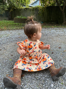 Girl's Fall Pumpkin Flutter Dress