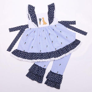 Girl's Blue Bunny 2PC Ruffled Pants Set