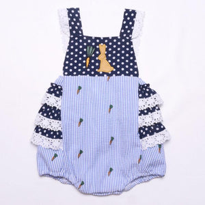 Infant Girl's Blue Bunny Romper