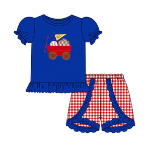 "Girl's ""Take Me Out to the Ballgame"" Baseball 2PC Short Set"