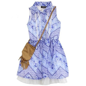 "Girls ""Kate"" Chiffon Dress w/ Purse (Blue)"